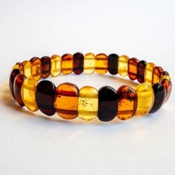 Flat Three-Color Amber Beads Bracelet
