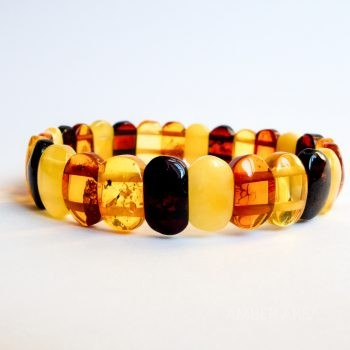 Flat Four-Color Amber Beads Bracelet