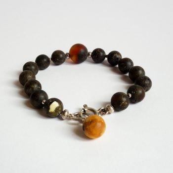 Dark Round Amber Beads Bracelet