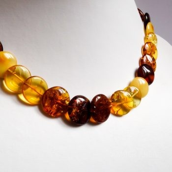 Flat Round Multi-Color Amber Necklace