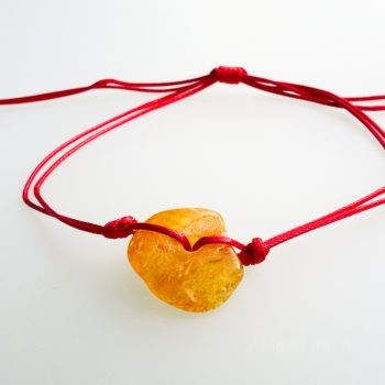Red String Bracelet With Amber