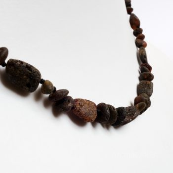 Small Beads Dark Unpolished Amber Necklace