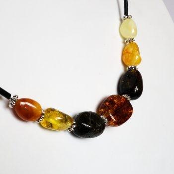 Black Wire Multi-Color Amber Necklace