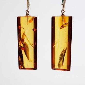 Half-Cylinder Amber Earrings