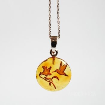 Birds Amber Pendant With A Chain