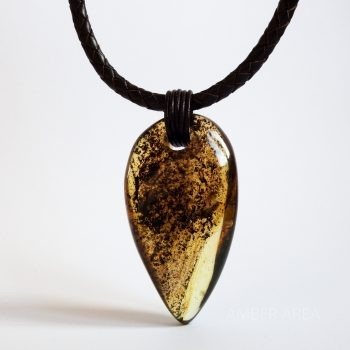 Brown Leather String Amber Pendant