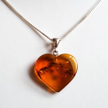 Brown Amber Heart Pendant With A Chain
