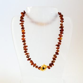 Amber Flower Brown Necklace For Kids