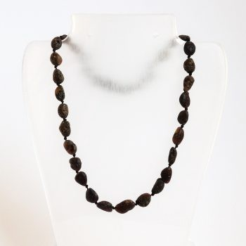 Dark Unpolished Amber Necklace For Kids