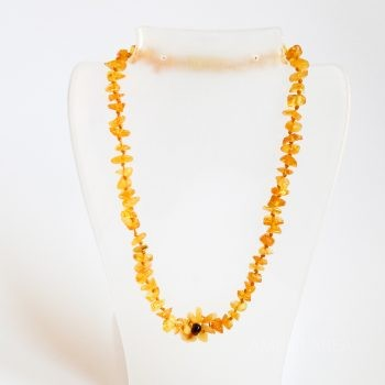 Amber Flower Yellow Necklace For Kids