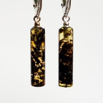 Cylinder Amber Earrings