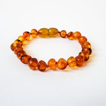 Brown Polished Amber Bracelet For Kids