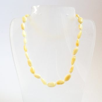 White Polished Amber Necklace For Kids