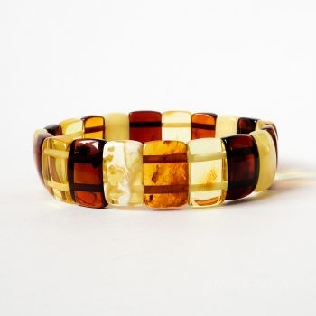 Flat Rectangular Amber Beads Bracelet