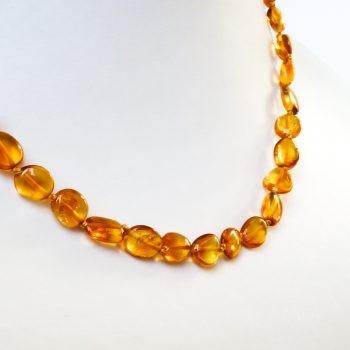 Light Brown Polished Amber Necklace
