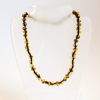 Green Polished Amber Necklace For Kids