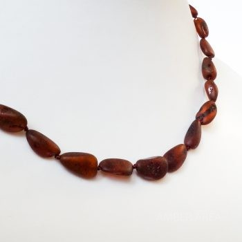 Dark Brown Unpolished Amber Necklace