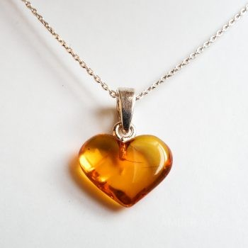 Brown Little Amber Heart Pendant With A Chain