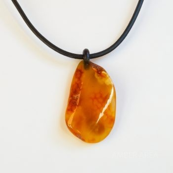 Leather String Amber Pendant