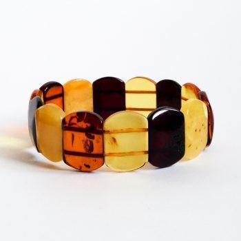 Flat Multi-Color Amber Beads Bracelet