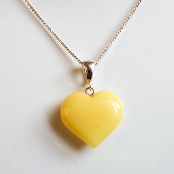 White Amber Heart Pendant With A Chain