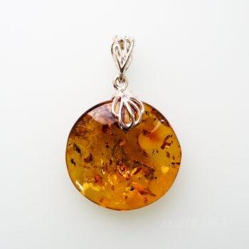 Classic Round Brown Amber Pendant