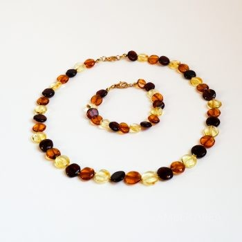 Flat Round Amber Necklace And Bracelet Set