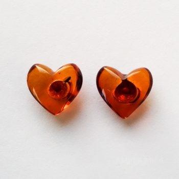 Brown Amber Heart Earrings