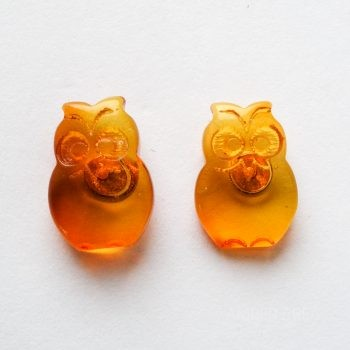 Brown Amber Owl Earrings