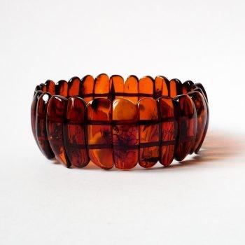 Flat Red Brown Amber Beads Bracelet