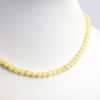 Round Beads White Amber Necklace