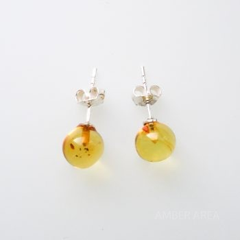 Round Yellow Amber Earrings