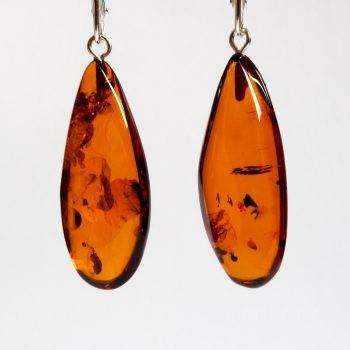 Brown Polished Amber Earrings