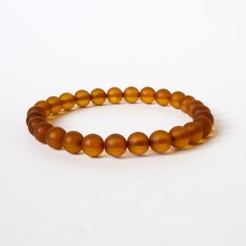 Round Beads Brown Unpolished Amber Bracelet