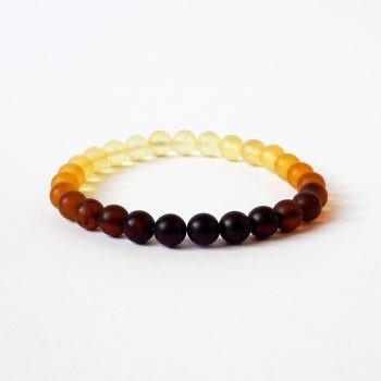 Round Beads Gradient Color Unpolished Amber Bracelet