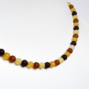 Round Beads Multi-Color Unpolished Amber Necklace