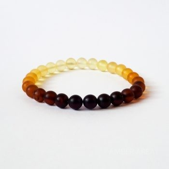 Round Beads Gradient Color Unpolished Amber Bracelet