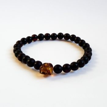 Dark Red Amber Bracelet With A Skull