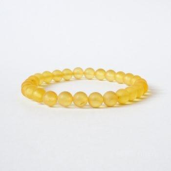 Round Beads Yellow Unpolished Amber Bracelet