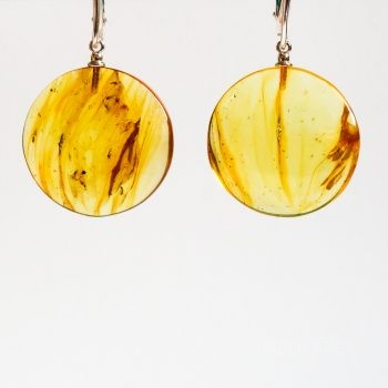 Flat Round Light Brown Amber Earrings