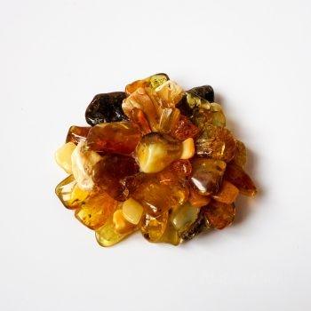 Amber Flower Multi-Color Brooch