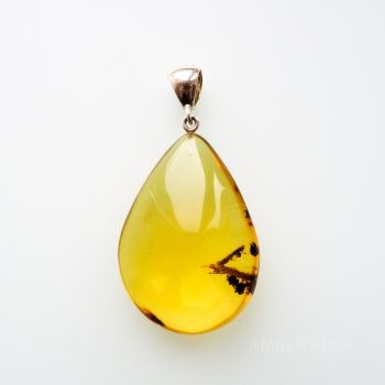 Amber Pendant With Wood Inclusion