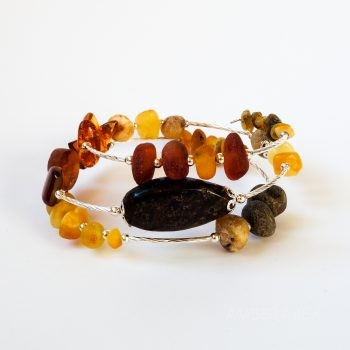 Wire Multi-Color Amber Bracelet