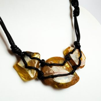 Amber And Wood Necklace With Leather String