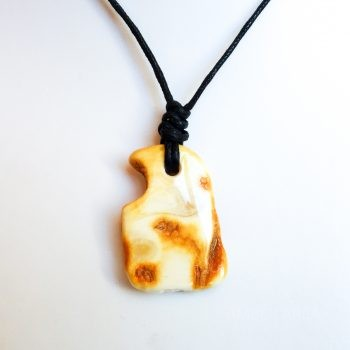 Unique Amber Amulet Pendant With Leather String