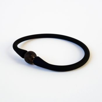 Black Silicone Bracelet With Amber
