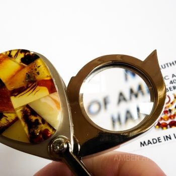 Amber Mosaic Keychain With Magnifying Glass
