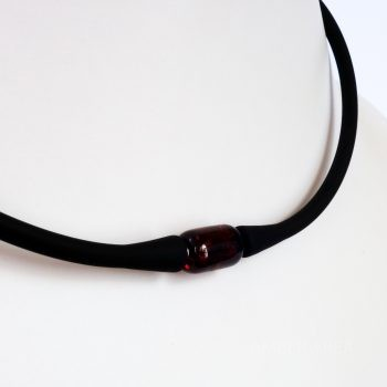 Black Silicone Choker With Amber