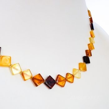 Square Beads Multi-Color Amber Necklace