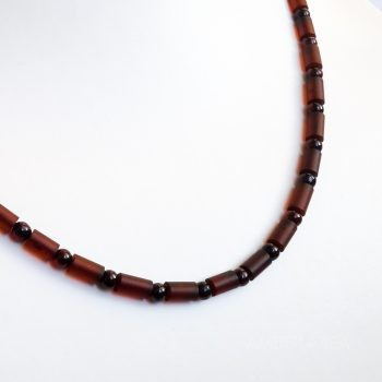 Dark Red Amber Necklace For Men